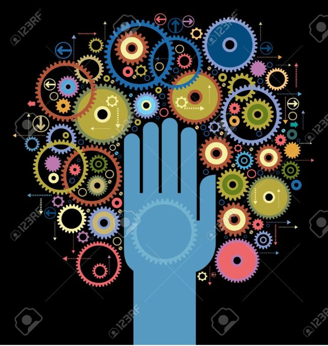 17807026-the-concept-of-motion-Human-hand-starts-the-mechanism-Stock-Vector